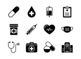 medische en gezondheidszorg pictogrammenset glyph-stijl vector