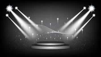 abstract podium als achtergrond met schilderachtige lichten vector