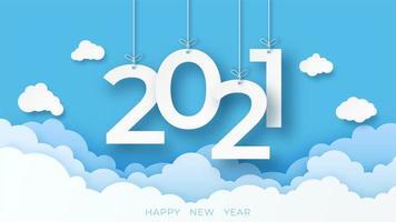 gelukkig nieuwjaar 2021 banner met wolken in papier gesneden stijl vector