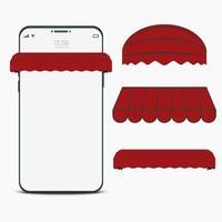 mobiele mockupsjabloon met dakset. online winkeltechnologie vector