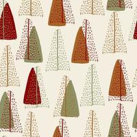 naadloze patroon achtergrond met hand getrokken schattige pijnboom vector