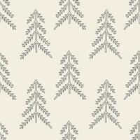 naadloze patroonachtergrond met zwart-wit overzichtspijnboom vector