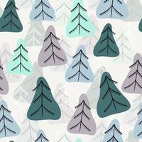 naadloze patroonachtergrond met krabbelpijnboom vector