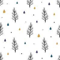 naadloze patroon achtergrond met pijnboom en sneeuw vector