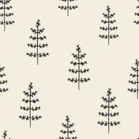 naadloze patroon achtergrond met hand tekenen pijnboom vector