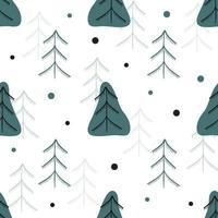 naadloze patroonachtergrond met krabbelpijnboom en sneeuwvlok vector