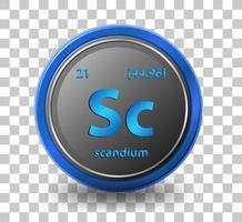scandium scheikundig element. chemisch symbool met atoomnummer en atoommassa.
