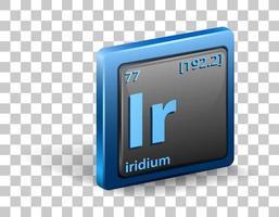 iridium scheikundig element. chemisch symbool met atoomnummer en atoommassa.