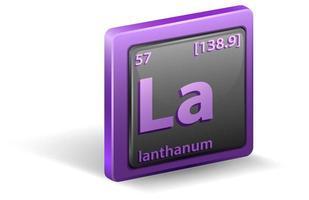 lanthaan scheikundig element. chemisch symbool met atoomnummer en atoommassa. vector
