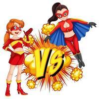 twee superhelden die met elkaar vechten vector