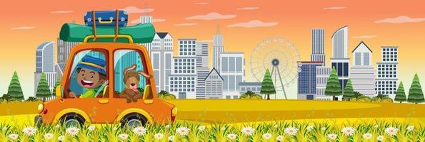 auto road trip met stedelijke scène vector