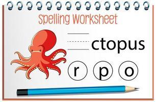 zoek ontbrekende letter met octopus vector