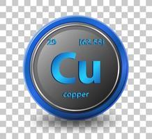 koper scheikundig element. chemisch symbool met atoomnummer en atoommassa.