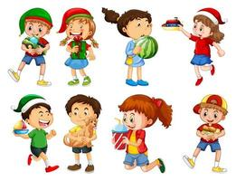 set van verschillende jongen spelen met hun speelgoed stripfiguur geïsoleerd op een witte achtergrond