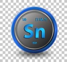 tin scheikundig element. chemisch symbool met atoomnummer en atoommassa.