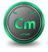 curium scheikundig element. chemisch symbool met atoomnummer en atoommassa.