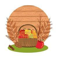 vruchten van de herfst in rieten mand