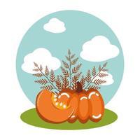 pompoenen van de herfst met takken