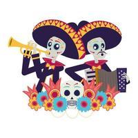 Mexicaanse mariachis-schedels die trompet en accordeon spelen
