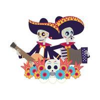 Mexicaanse mariachis-schedels gitaar en accordeon spelen