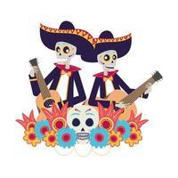 Mexicaanse mariachis-schedels die gitarenkarakters spelen vector