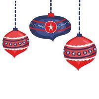 Kerst opknoping decoratieve ballen pictogrammen vector