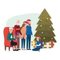 schattige familieleden met kerstboom