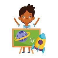 terug naar school, student jongen schoolbord raket planeet elementair onderwijs cartoon vector