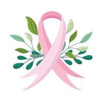 borstkanker bewustzijn maand, lint campagne teken, vector