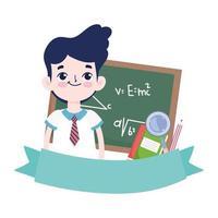 gelukkige lerarendag, het schoolbordboek van de studentenjongen en vergrootglasbeeldverhaal