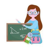 gelukkige lerarendag, leraar schoolbord rugzak boek en vergrootglas cartoon