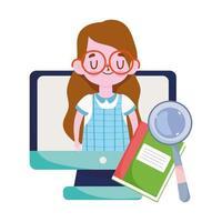 gelukkige lerarendag, computerboek van het studentenmeisje en vergrootglas