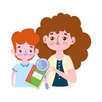 gelukkige lerarendag, leraar en studentenjongenboek en vergrootglasbeeldverhaal