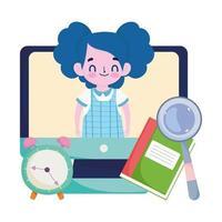 gelukkige leerkrachten dag, student meisje online computer videoklokboek en vergrootglas