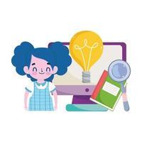 gelukkige lerarendag, vergrootglas van het computerboek van het studentenmeisje en bolidee