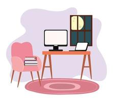 werkruimte kamer thuis bureau computer laptop stoel boek venster vector