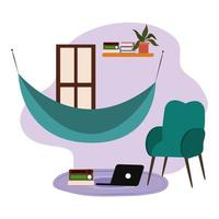 hangmat stoel plank met boeken en laptop