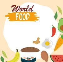 wereldvoedseldag, brood kip fruit groente gezonde levensstijl maaltijd achtergrond