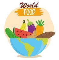 Wereldvoedseldag, fruit, groenten, brood in kom, gezonde levensstijlmaaltijd