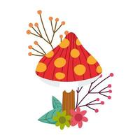hallo herfst, cartoon paddestoel bloemen bladeren gebladerte kaart