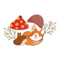 hallo herfst, egel en slapende vos paddenstoelen en blad vector
