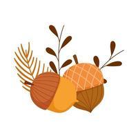 herfst seizoen eikels bladeren tak
