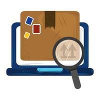 snelle bezorgservice online kartonnen doos verzending zoeken vector