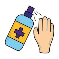 hand met alcoholgel ontsmettingsmiddel, nieuw normaal na coronavirus covid 19 vector