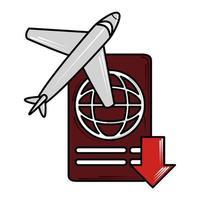 veilig reizen vliegtuig nieuw normaal na coronavirus covid 19 vector