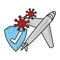 vliegtuigreizen vinkje nieuw normaal na coronavirus covid 19 vector