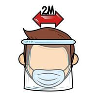 sociale afstand en draag masker nieuw normaal na coronavirus covid 19 vector