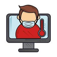 masker dragen en online vergaderen voorkomen, nieuw normaal na coronavirus covid 19 vector