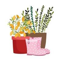 gelukkige tuin, potplanten bladeren laarzen geïsoleerde pictogramstijl vector