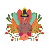 happy thanksgiving day, turkije met pelgrim hoed bloem fruit gebladerte viering